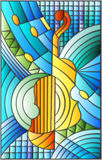 Stained glass illustration  on the subject of music , the shape of an abstract violin on geometric background Royalty Free Stock Photo