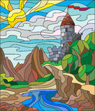 Stained glass illustration of summer landscape with ancient castle Royalty Free Stock Photos