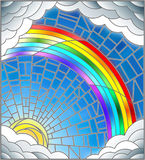 Stained glass illustration  sun ,rainbow and clouds on blue sky background Stock Image