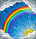 Stained glass illustration  sun ,rainbow and clouds on blue sky background Royalty Free Stock Images