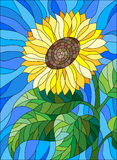 Stained glass illustration with sunflower on sky background. Illustration in stained glass style flower sunflower on a blue background Royalty Free Stock Photography