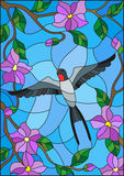 Stained glass illustration with a swallow on background of blue sky and flowering tree branches Stock Photo