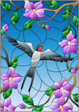 Stained glass illustration  with a swallow on background of blue sky and flowering tree branches Stock Photography