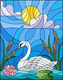 Stained glass illustration  with Swan , Lotus flowers and reeds on a pond in the sun, sky and clouds Royalty Free Stock Photography