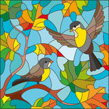 A stained glass illustration on the theme of autumn, two Tits and a yellowed maple leaves. Illustration in stained glass style on the theme of autumn, two Tits Stock Image