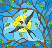 Stained glass illustration  on the theme of spring, the swallow flying on the background of Sunny sky through the lumen of the bra Royalty Free Stock Images