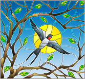 Stained glass illustration on the theme of spring, the swallow flying on the background of Sunny sky through the lumen of the bran. Illustration in stained glass Royalty Free Stock Photo
