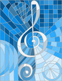 Stained glass illustration  of a treble clef ,blue gamma Stock Photos