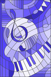 Stained glass illustration  a treble clef, blue tone. Abstract image of a treble clef in stained glass style , blue tone Royalty Free Stock Images