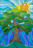 Stained glass illustration with tree on sky background and sun. Illustration in stained glass style with tree on sky background and sun Stock Images