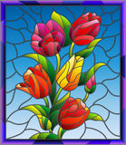 Stained glass illustration with tulips, buds and leaves on a blue background in a bright frame Royalty Free Stock Images