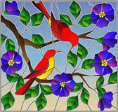Stained glass illustration two bright red birds on the branches of blooming wild rose on a background sky royalty free illustration