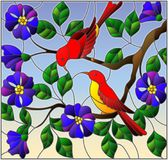 Stained glass illustration  with two two bright red birds on the branches of blooming wild rose on a background sky Stock Image