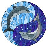 Stained glass illustration with two dolphins on the background of water and air bubbles in the form of the Yin Yang sign. Illustration in stained glass style royalty free illustration