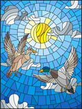 Stained glass illustration  with two ducks on the background of sky, sun and clouds Royalty Free Stock Image