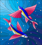 Stained glass illustration with two flying fishes manta rays on the background of water and air bubbles Stock Image