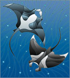 Stained glass illustration  with two manta rays manta rays on the background of water and air bubbles. Illustration in the style of stained glass with two manta Royalty Free Stock Image