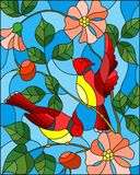 Stained glass illustration  with two red birds on the branches of blooming wild rose on a background sky Stock Images