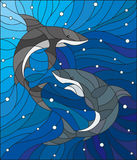 Stained glass illustration  with two sharks on the background of water and air bubbles. Illustration in the style of stained glass with two sharks on the Royalty Free Stock Image