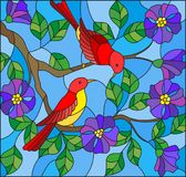 Stained glass illustration  with two two bright red birds on the branches of blooming wild rose on a background sky Stock Photo