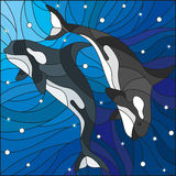 Stained glass illustration with two whales on the background of water and air bubbles. Illustration in the style of stained glass with two whales on the Royalty Free Stock Photography