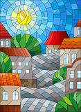 Stained glass illustration  urban landscape,roofs and trees against the day sky and sun Stock Image