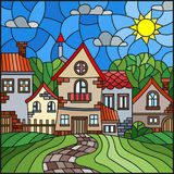 Stained glass illustration , urban landscape,roofs and trees against the day sky and sun royalty free illustration