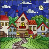 Stained glass illustration , urban landscape,roofs and trees against the starry sky and moon Stock Photo