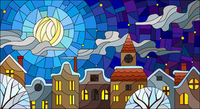 Stained glass illustration , urban landscape,snow-covered roofs and trees against the night sky, moon and clouds Stock Photography