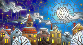 Stained glass illustration ,urban landscape,snow-covered roofs and trees against the night sky, moon and clouds Stock Photo