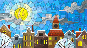 Stained glass illustration , urban landscape,snow-covered roofs and trees against the sky, sun , clouds and snow Royalty Free Stock Image