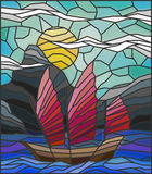 Stained glass illustration with vintage Oriental boat frame Stock Image