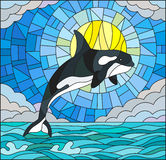 Stained glass illustration  with a whale on the background of water ,cloud, sky and sun Stock Images