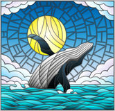 Stained glass illustration with a whale on the background of water ,cloud, sky and sun Royalty Free Stock Photos