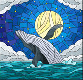 Stained glass illustration with a whale on the background of water ,cloud, starry sky and moon Stock Photo