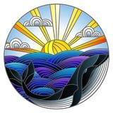 Stained glass illustration whale into the waves, Sunny sky and clouds, round image. Illustration in stained glass style whale into the waves, Sunny sky and Royalty Free Stock Photos