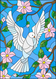 Stained glass illustration  with a white dove on background of blue sky and flowering tree branches Stock Photography