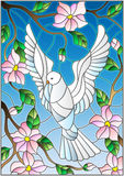 Stained glass illustration  with a white dove on background of blue sky and flowering tree branches Royalty Free Stock Photos