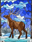 Stained glass illustration with wild deer on the background of trees, mountains , snow and sky Royalty Free Illustration