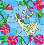 Stained glass illustration with a winged fairy in the sky, flowers and greenery Royalty Free Stock Photography