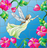 Stained glass illustration  with a winged fairy in the sky, flowers and greenery Royalty Free Stock Image