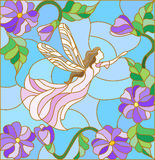 Stained glass illustration with a winged fairy in the sky, flowers and greenery Stock Photography
