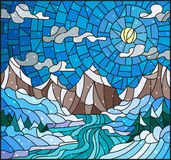 Stained glass illustration  with a winter landscape, the river against snow-covered coast and mountains. Illustration in stained glass style with a winter Stock Photo