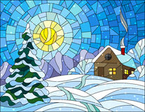 Stained glass illustration winter landscape, village house and fir-tree on a background of snow, sky and sun. Illustration in vintage style winter landscape Royalty Free Stock Images