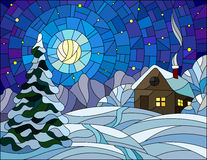 Stained glass illustration winter landscape, village house and fir-tree on a background of snow, starry sky and moon. Illustration in vintage style winter Stock Photos