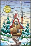 Stained glass illustration  winter landscape, village house and fir-trees on a background of snow, sky and sun. Illustration in vintage style winter landscape Royalty Free Stock Images