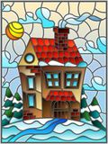 Stained glass illustration  winter landscape, village house and fir-trees on a background of snow, sky and sun. Illustration in vintage style winter landscape Stock Image