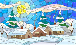Stained glass illustration with a winter village landscape. Illustration in stained glass style with the winter village scenery, three lonely house on a Royalty Free Stock Photos