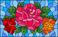 Free Stained Glass Illustration With A Bouquet Of Roses On A Blue Background Stock Images - 192724344