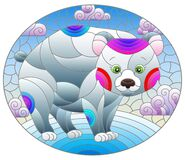 Free Stained Glass Illustration With A Cute Cartoon Polar Bear On The Background Of Snow And A Cloudy Sky, Oval Image Stock Images - 217423664